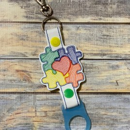 ITH Autism Puzzle Heart Water Bottle Holders – 4×4 and 5×7 – DIGITAL Embroidery DESIGN