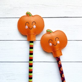 ITH Happy Pumpkin Pencil Toppers 4×4 and 5×7 included- DIGITAL Embroidery DESIGN