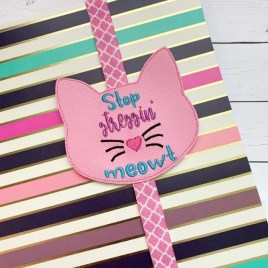 ITH – Stop Stressin' Meowt – Book Band – Digital Embroidery Design