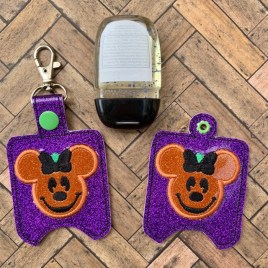 ITH Miss Mouse Pumpkin Sanitizer Holder 4×4 and 5×7 included- DIGITAL Embroidery DESIGN
