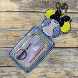 ITH – Wonderland Girl Mouse ID Holder 5×7 only – Digital Embroidery Design