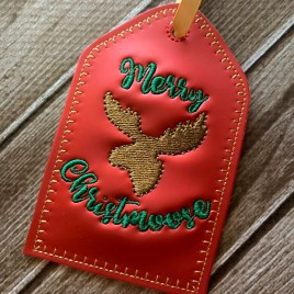 ITH – Merry Christmoose Gift Tag Feltie – Digital Embroidery Design