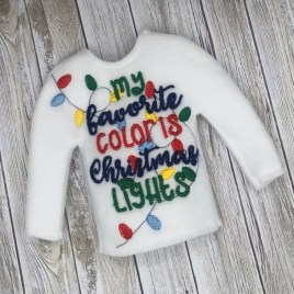ITH – My Favorite Color is Christmas Lights Doll Sweater 5×7 – Digital Embroidery Design