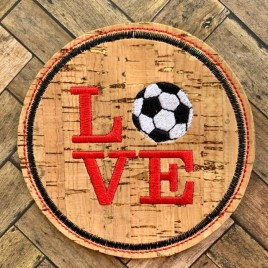 ITH Love Soccer Coaster 4×4 – DIGITAL Embroidery DESIGN