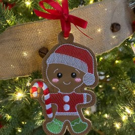 ITH – Gingerbread Family Set #9 Ornament 4×4 and 5×7 grouped – Digital Embroidery Design