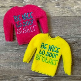 ITH – Be Nice Doll Sweater 5×7 – Digital Embroidery Design