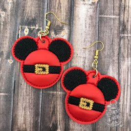 ITH – Santa Mouse Earrings – 3 sizes – 4×4 and 5×7 Grouped- Digital Embroidery Design