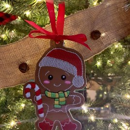 ITH – Gingerbread Family Set #12 Ornament 4×4 and 5×7 grouped – Digital Embroidery Design