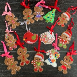 ITH – Gingerbread Family Ornament Set – Digital Embroidery Design