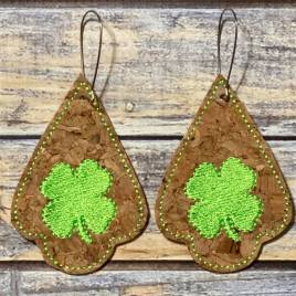 ITH – Shamrock Tear Drop Earrings – 3 sizes – 4×4 and 5×7 Grouped- Digital Embroidery Design