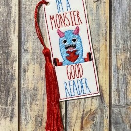 ITH – I'm a mosnter good reader Bookmark 4×4 and 5×7 Grouped – Digital Embroidery Design