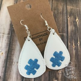 ITH – Puzzle Piece Tear Drop Earrings – 3 sizes – 4×4 and 5×7 Grouped- Digital Embroidery Design
