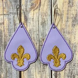 ITH – Fleur De Lis Earrings – 3 sizes – 4×4 and 5×7 Grouped- Digital Embroidery Design