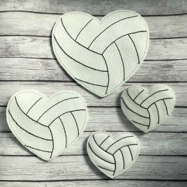 ITH – Volleyball Heart Felties – 3 sizes – 4×4 and 5×7 Grouped- Digital Embroidery Design