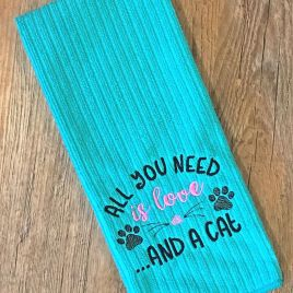 All you need is love and a cat – 2 sizes – Digital Embroidery Design