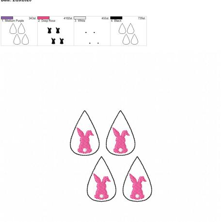 Bunny tear drop earrings 1.75 inch 4×4 grouped