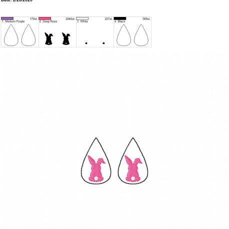 Bunny tear drop earrings 1.75 inch set