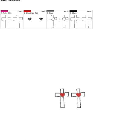 Sketch heart cross felties 2 inch pair 4×4