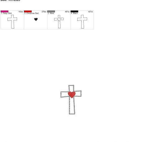 Sketch heart cross felties 3 inch 4×4