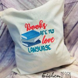 Books are my Love Language – 3 Sizes – Digital Embroidery Design