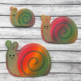 ITH – Snail Felties – 3 sizes – 4×4 and 5×7 Grouped- Digital Embroidery Design