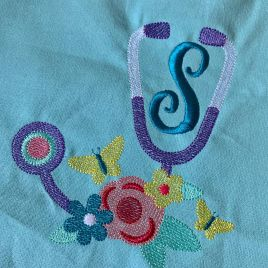 Butterfly Stethoscope Sketch – 3 Sizes – Digital Embroidery Design