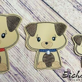 ITH – Cute Puppy Felties – 3 sizes – 4×4 and 5×7 Grouped- Digital Embroidery Design