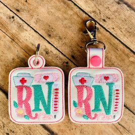ITH RN Tab and eyelet Fobs 4×4 and 5×7 included- DIGITAL Embroidery DESIGN