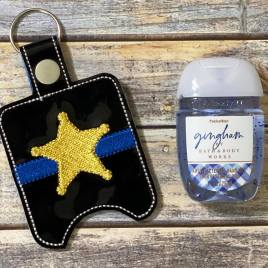 ITH 5 Point Blue Line Badge  Sanitizer Holders 4×4 and 5×7 included- DIGITAL Embroidery DESIGN
