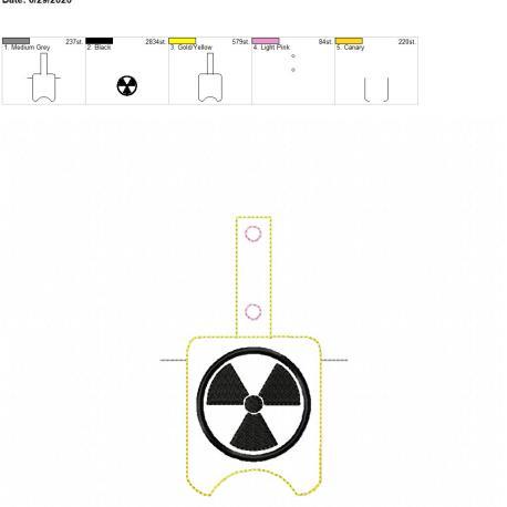Radiation Sanitizer holder snap tab 5×7