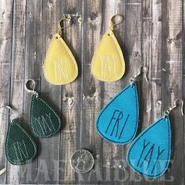 ITH – FRI YAY Earrings – 3 sizes – 4×4 and 5×7 Grouped- Digital Embroidery Design
