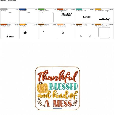 thankful blessed and kind of a mess book band 4×4