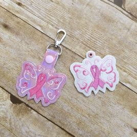 ITH Awareness Butterfly Fobs 4×4 and 5×7 included- DIGITAL Embroidery DESIGN