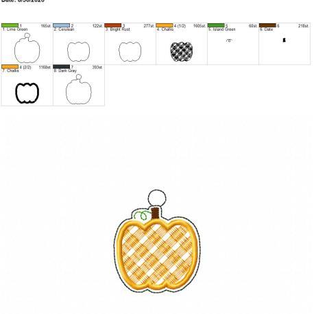 Plaid applique pumpkin eyelet 4×4