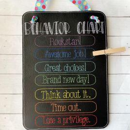 ITH – Behavior Chart Door Hanger – 3 sizes – Digital Embroidery Design