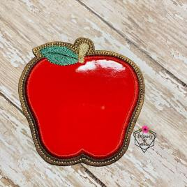 ITH Apple Applique Coaster  4×4 – DIGITAL Embroidery DESIGN