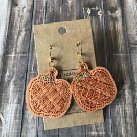 ITH – Plaid Pumpkin Earrings – 2 sizes – 4×4 and 5×7 Grouped- Digital Embroidery Design
