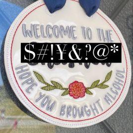 ITH – Mature Welcome Door Hanger – 3 sizes – Digital Embroidery Design