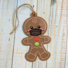 ITH – Masked Gingerbread Ornament – Digital Embroidery Design
