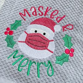 Masked and Merry – 3 Sizes – Digital Embroidery Design