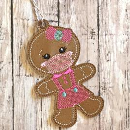 ITH – Masked Gingerbread Girl Ornament – Digital Embroidery Design