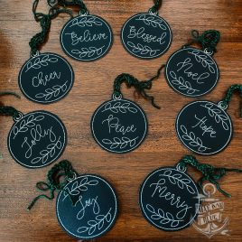 ITH – Rustic Christmas Ornament Set – Digital File – Embroidery Design