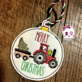 Merry Christmas Tractor Ornament – Digital Embroidery Design