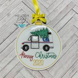 Postal Mail Truck Merry Christmas 2020 Ornament – Digital Embroidery Design