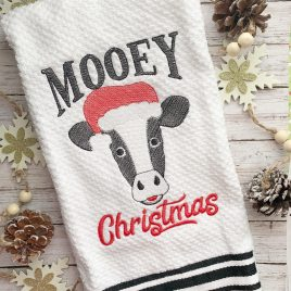 Mooey Christmas – 2 sizes – Digital Embroidery Design