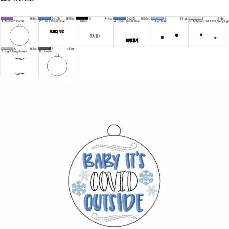 Baby it's covid outside ornament 4×4