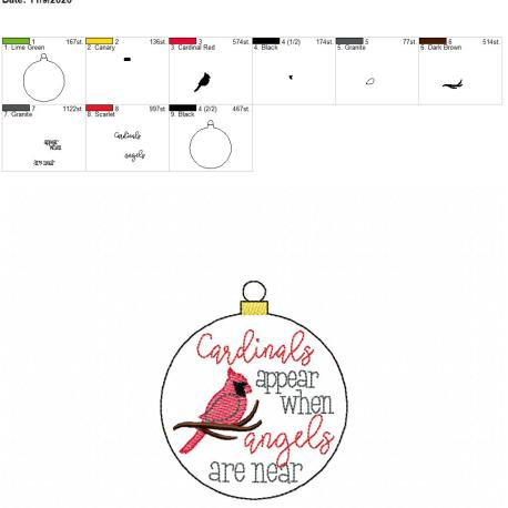 Cardinals appear ornament 4×4