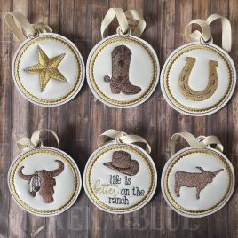 ITH – Ranch Ornament Set – Digital File – Embroidery Design