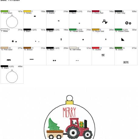 Merry Christmas Tractor ornament 4×4