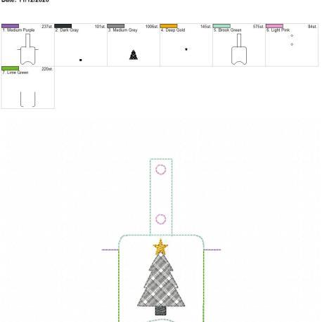 Plaid Tree Sanitizer holder snap tab 5×7